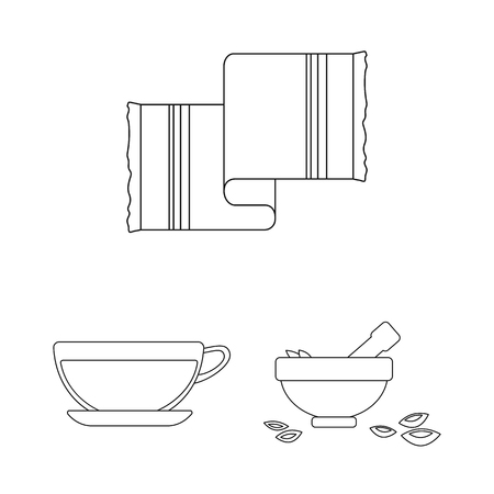 Spa salon and equipment outline icons in set collection for design. Relaxation and rest vector symbol stock web illustration.