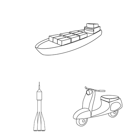 Different types of transport outline icons in set collection for design. Car and ship vector symbol stock web illustration. 向量圖像