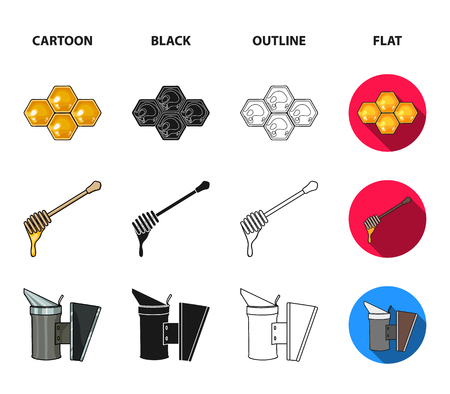 A frame with honeycombs, a ladle of honey, a fumigator from bees, a jar of honey.Apiary set collection icons in cartoon,black,outline,flat style vector symbol stock illustration web. Illustration