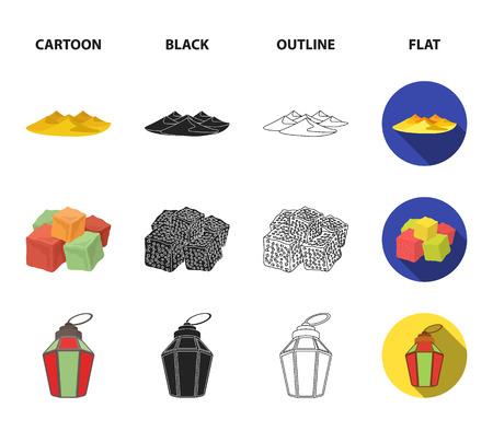 Eastern sweets, Ramadan lamp, Arab sheikh, territory.Arab emirates set collection icons in cartoon,black,outline,flat style vector symbol stock illustration web.