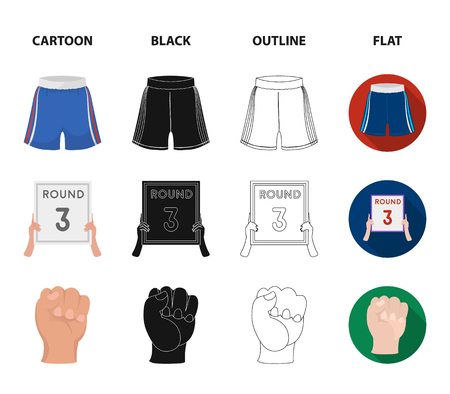 Boxing, sport, round, hand. Boxing set collection icons in cartoon,black,outline,flat style vector symbol stock illustration web.