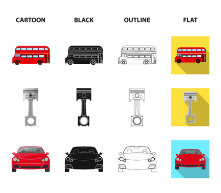 Car on lift, piston and pump cartoon,black,outline,flat icons in set collection for design.Car maintenance station vector symbol stock illustration web.