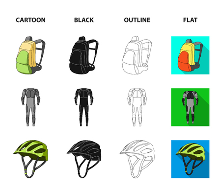 Full-body suit for the rider, helmet, pump with a hose, knee protectors.Cyclist outfit set collection icons in cartoon,black,outline,flat style vector symbol stock illustration web.