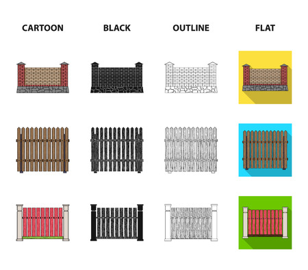 A fence of metal and bricks,wooden palisade. A different fence set collection icons in cartoon,black,outline,flat style vector symbol stock illustration web.