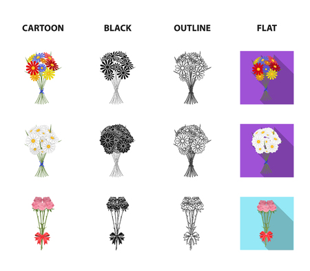 A bouquet of fresh flowers cartoon,black,outline,flat icons in set collection for design. Various bouquets vector symbol stock web illustration.