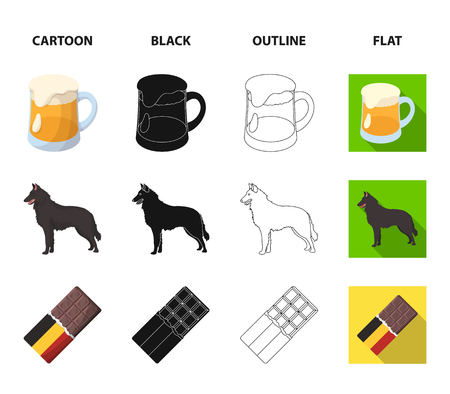 Chocolate, cathedral and other symbols of the country.Belgium set collection icons in cartoon,black,outline,flat style vector symbol stock illustration web. Illustration