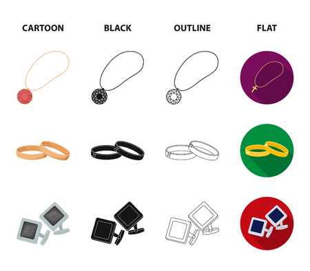 Wedding rings, cuff links, diamond necklace, women ring with a stone. Jewelery and accessories set collection icons in cartoon,black,outline,flat style vector symbol stock illustration web.