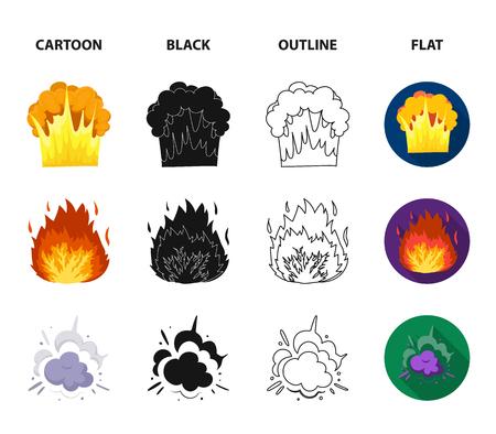 Flamme, étincelles, fragments d'hydrogène, explosion atomique ou gazeuse. Explosions définies icônes de collection en dessin animé, noir, contour, style plat vecteur symbole stock illustration web. Vecteurs