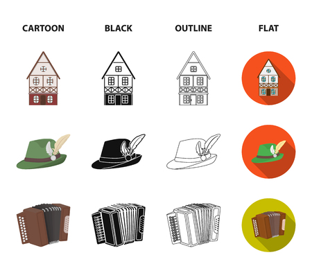 Tyrolean hat, accordion, dress, pretzel. Oktoberfest set collection icons in cartoon,black,outline,flat style vector symbol stock illustration web.