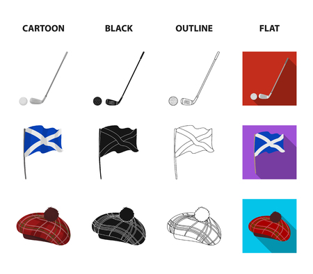 Flag, kilt, rainy weather, cap.Scotland country set collection icons in cartoon,black,outline,flat style vector symbol stock illustration web. Çizim