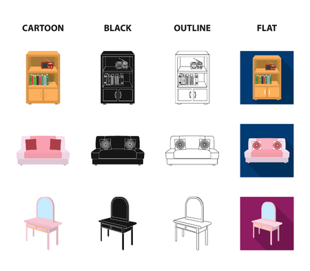 Soft sofa, toilet make-up table, dining table, shelving for laundry and detergent. Furniture and interior set collection icons in cartoon,black,outline,flat style isometric vector symbol stock illustration web.