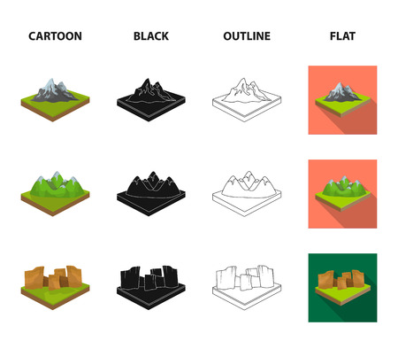 Mountains, rocks and landscape. Relief and mountains set collection icons in cartoon,black,outline,flat style isometric vector symbol stock illustration web.