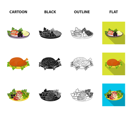 Fried chicken, vegetable salad, shish kebab with vegetables, fried sausages on a plate. Food and Cooking set collection icons in cartoon,black,outline,flat style vector symbol stock illustration web.