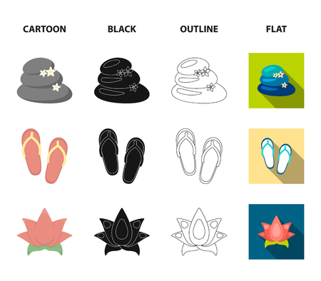 Flip-flops for the pool, lotus flower with petals, yellow towel with fringe, cup with tea, drink. Spa set collection icons in cartoon,black,outline,flat style vector symbol stock illustration web.