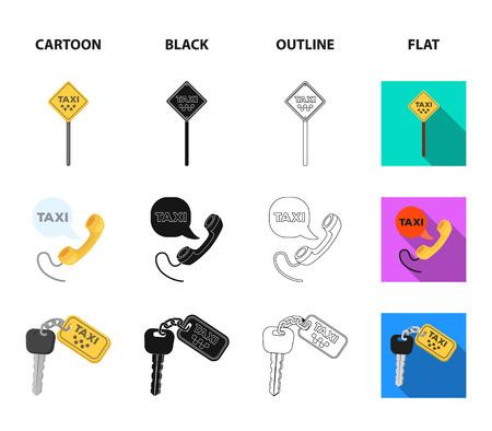 Combiné avec l'inscription d'un taxi, clés de voiture avec un porte-clés, un chronomètre avec un tarif, un sac à main avec de l'argent, des dollars. Taxi set icônes de la collection en dessin animé, noir, contour, style plat vecteur symbole stock illustration web.