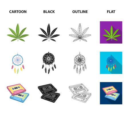 Amuleto, chica hippie, signo de libertad, cassette antiguo. Hippy configurar los iconos de la colección en la web de dibujos animados, negro, contorno, estilo plano vector símbolo stock de ilustración.