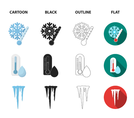 Humidity, icicles, thunderbolt, windy weather. Weather set collection icons in cartoon,black,outline,flat style vector symbol stock illustration web. 일러스트