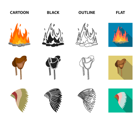 Saddle, Indian mohawk, whip, dream catcher.Wild west set collection icons in cartoon,black,outline,flat style vector symbol stock illustration web.