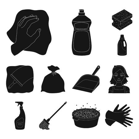 Limpieza y mucama iconos negros en conjunto para el diseño. Equipo para la limpieza de ilustración vectorial símbolo stock web.