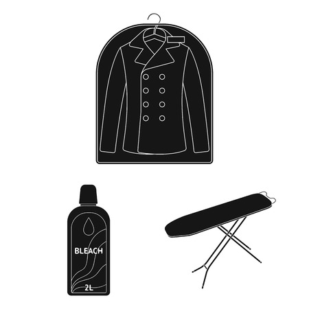 Dry cleaning equipment black icons in set collection for design. Washing and ironing clothes vector symbol stock web illustration. Иллюстрация