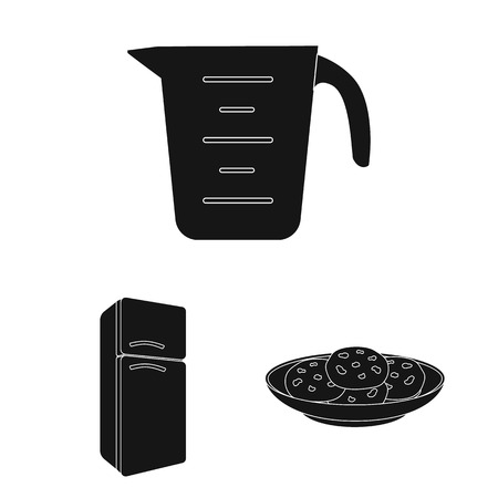 Kitchen equipment black icons in set collection for design. Kitchen and accessories vector symbol stock web illustration. Illustration