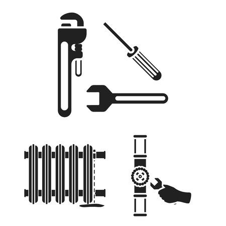 Plumbing, fitting black icons in set collection for design. Equipment and tools vector symbol stock web illustration.