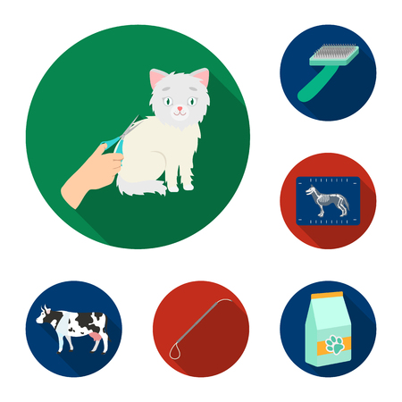 Veterinary clinic flat icons in set collection for design. Treatment of a pet vector symbol stock web illustration. Illustration