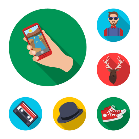 Style Hipster flat icons in set collection for design. Hipster Attributes and accessories vector symbol stock web illustration. Vektoros illusztráció