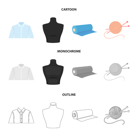 A man shirt, a mannequin, a roll of fabric, a ball of threads and knitting needles.Atelier set collection icons in cartoon,outline,monochrome style vector symbol stock illustration web. Illustration