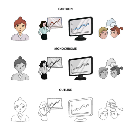 Businesswoman, growth charts, brainstorming.Business-conference and negotiations set collection icons in cartoon,outline,monochrome style vector symbol stock illustration web.
