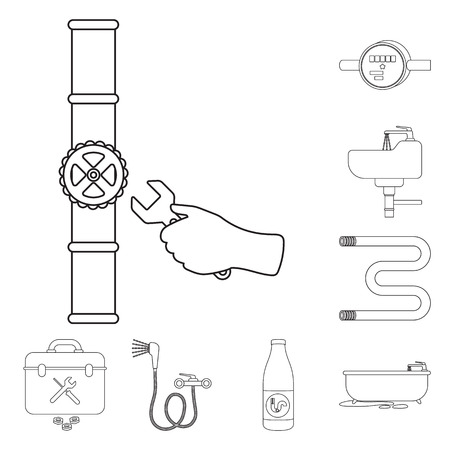 Plumbing, fitting outline icons in set collection for design. Equipment and tools vector symbol stock web illustration.  イラスト・ベクター素材