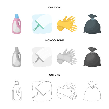 Gel for washing in a pink bottle, yellow gloves for cleaning, a brush for glass, a black bag for garbage or waste. Cleaning set collection icons in cartoon,outline,monochrome style vector symbol stock illustration web. Stock Illustratie