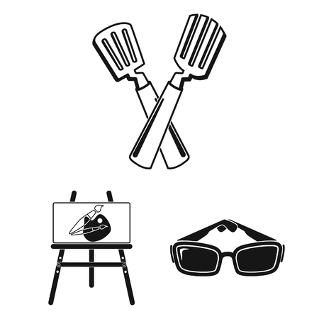 Picnic and equipment black icons in set collection for design. Picnic in the nature vector symbol stock web illustration. Illustration