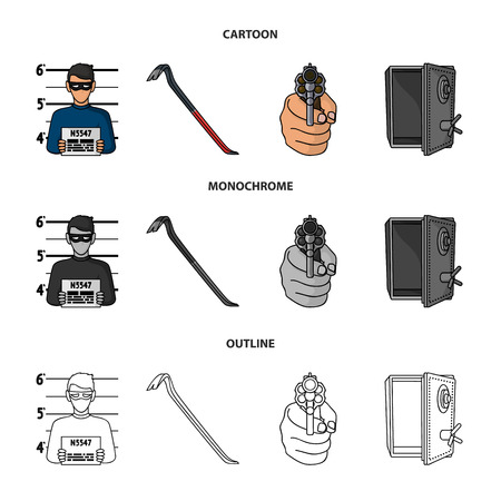 Photo of criminal, scrap, open safe, directional gun.Crime set collection icons in cartoon,outline,monochrome style vector symbol stock illustration .