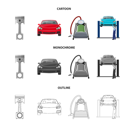Car on lift, piston and pump cartoon,outline,monochrome icons in set collection for design.Car maintenance station vector symbol stock illustration .