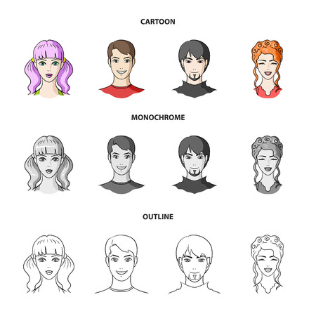 Different looks of young people.Avatar and face set collection icons in cartoon,outline,monochrome style vector symbol stock illustration . Illustration