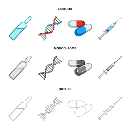 Human DNA and other equipment.Medicine set collection icons in cartoon,outline,monochrome style vector symbol stock illustration . Illustration