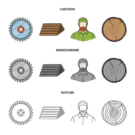 Circular saw, a working carpenter, a stack of logs. A sawmill and timber set collection icons in cartoon,outline,monochrome style vector symbol stock illustration .