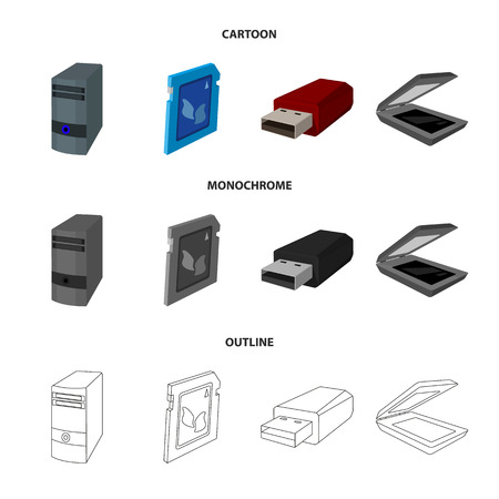 A system unit, a flash drive, a scanner and a SD card. Personal computer set collection icons in cartoon,outline,monochrome style vector symbol stock illustration . Иллюстрация