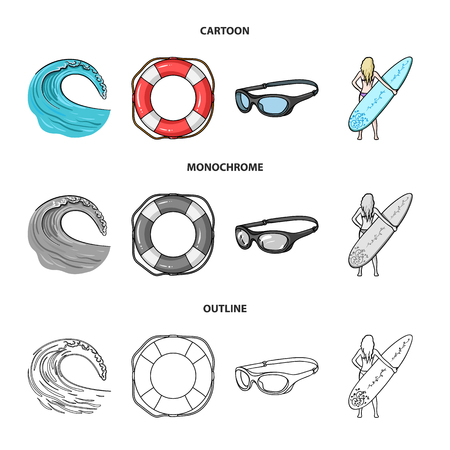 Oncoming wave, life ring, goggles, girl surfing. Surfing set collection icons in cartoon,outline,monochrome style vector symbol stock illustration .