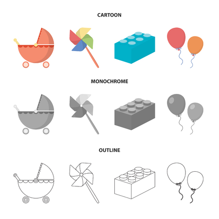 Stroller, windmill, balloons.Toys set collection icons in cartoon,outline,monochrome style vector symbol stock illustration . Vectores