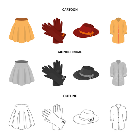 Skirt with folds, leather gloves, women hat with a bow, shirt on the fastener. Women clothing set collection icons in cartoon,outline,monochrome style vector symbol stock illustration . Illustration