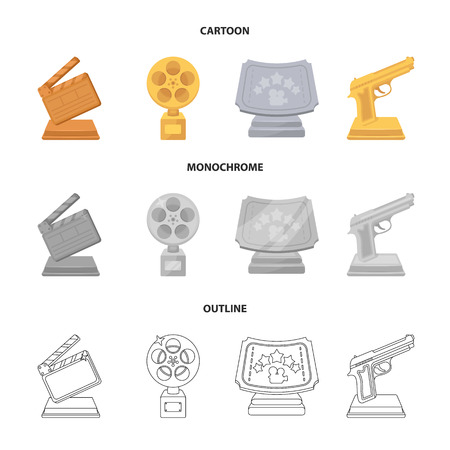 Gold pistol, silver prize for the best supporting role and other prizes.Movie awards set collection icons in cartoon,outline,monochrome style vector symbol stock illustration . Stock Illustratie