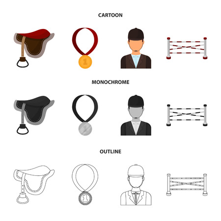 Saddle, medal, champion, winner .Hippodrome and horse set collection icons in cartoon,outline,monochrome style vector symbol stock illustration . 向量圖像