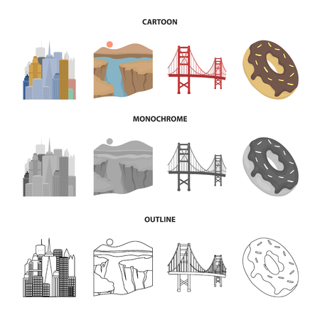 A megacity, a grand canyon, a golden gate bridge,donut with chocolate. The US country set collection icons in cartoon,outline,monochrome style vector symbol stock illustration web. Illustration