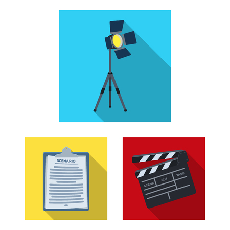 Making a movie flat icons in set collection for design. Attributes and Equipment vector symbol stock  illustration. Illustration