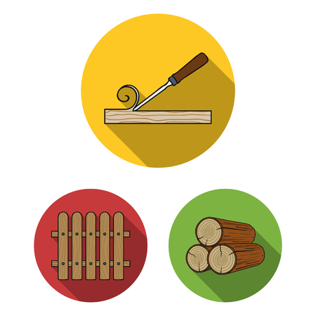 Sawmill and Timber flat icons in set collection for design. Hardware and Tools vector symbol stock  illustration. Illustration