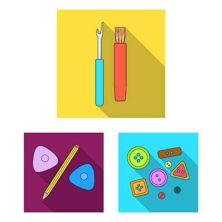 Sewing, atelier flat icons in set collection for design. Tool kit vector symbol stock  illustration.