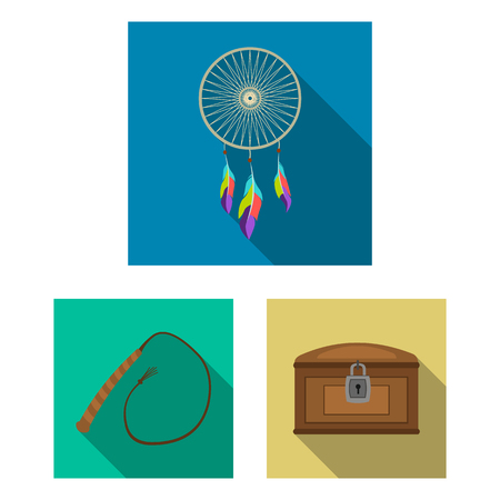 Attributes of the wild west flat icons in set collection for design.Texas and America vector symbol stock  illustration. Illustration