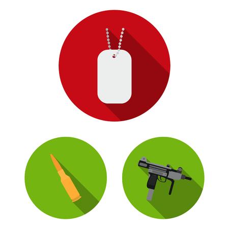 Tipos de armas, planos, iconos, en, conjunto, colección, para, design., Armas de fuego, y, armas blancas, vector, símbolo, acción, illustration.